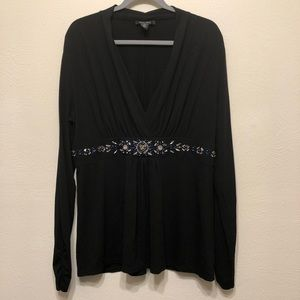 WHBM Black V-Neck Top with Embellished Waist. XL